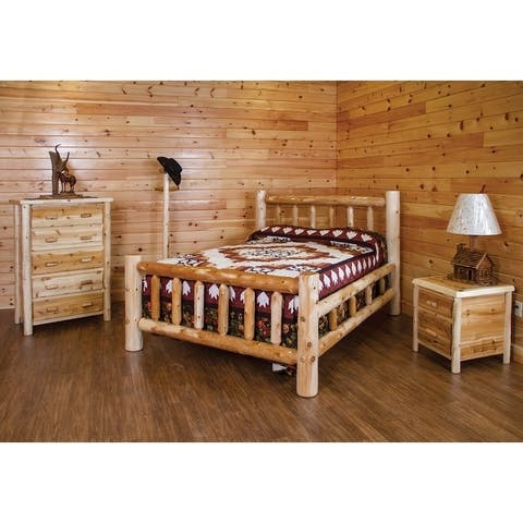 White Cedar Log Bedroom Set - Bed, 5 Drawer Chest, Nightstand, Coat Rack, and Cabin Lamp