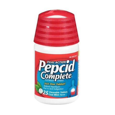 Pepcid Complete Dual Action Acid Reducer Cool Mint Flavor 25 Chewable Tablets - N/A