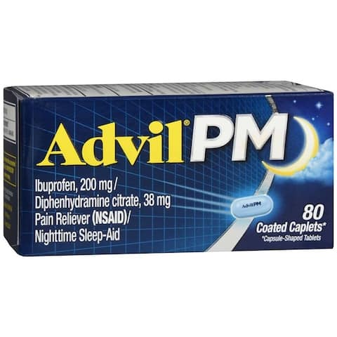 Advil PM Pain Reliever Nighttime Sleep-Aid 80 Coated Caplets - N/A