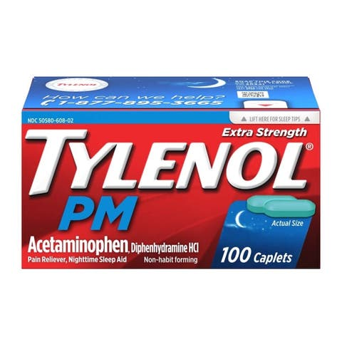 Tylenol PM Extra Strength Pain Reliever Nighttime Sleep Aid 100 Caplets - N/A