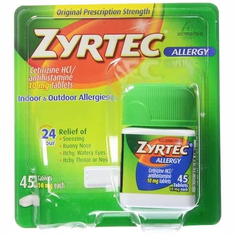 Zyrtec Allergy Indoor & Outdoor Relief 24HR 45 Tablets - N/A