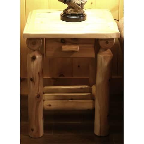 White Cedar Log One Drawer Nightstand/ End Table