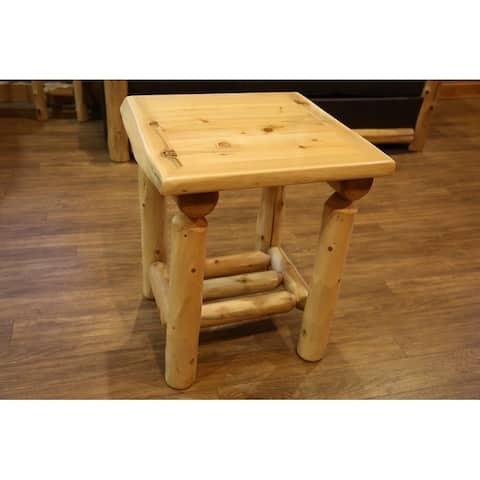 White Cedar Log Nightstand/ End Table with Shelf