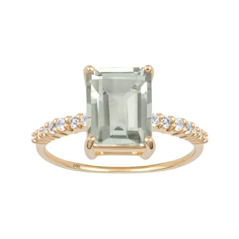 Viducci 10k Yellow Gold Emerald-Cut Green Amethyst and White Topaz Ring