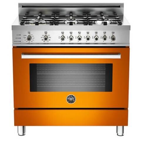 "36"" Pro Dual Fuel 6 Burner Range Orange"