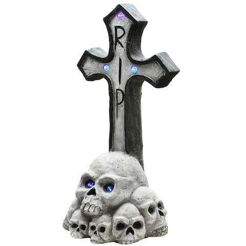 "24"" Cross Tombstone Halloween Decor"