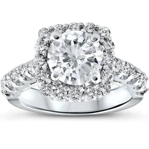 14k White Gold 3 Ct TDW Cushion Halo Diamond Engagement Ring Clarity Enhanced