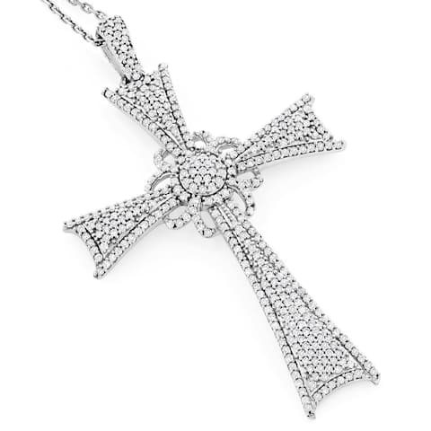 Luxurman 14k White or Rose Gold 1 1/3ct TDW Diamond Cross Pendant