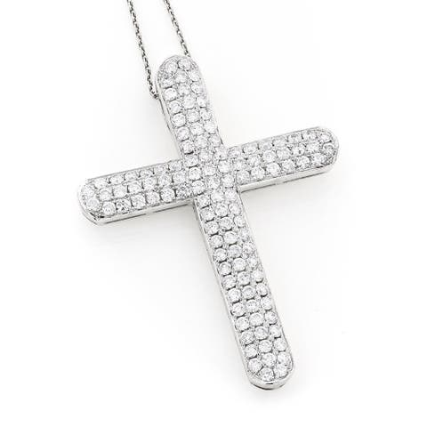 Luxurman 14k Gold 4ct TDW Diamond Cross Pendant - White