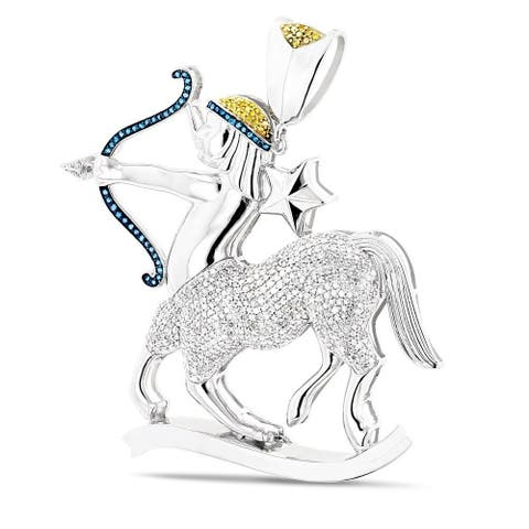 Luxurman 10k White Gold 3ct TDW Color Diamond Saggitarius Necklace