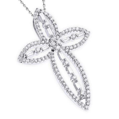 Luxurman 18k White Gold Designer 1 1/4ct TDW Diamond Cross Pendant