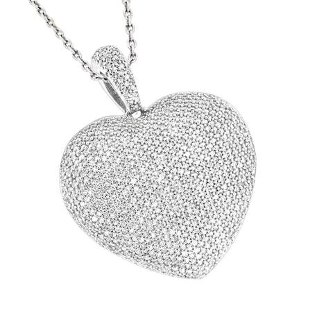 Luxurman 14k Gold 2 5/8ct TDW Pave Diamond Heart Necklace