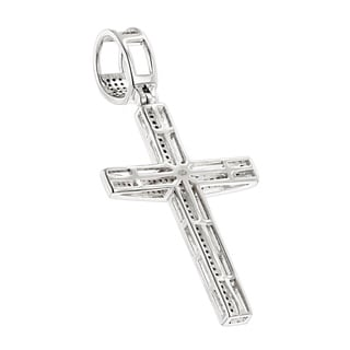 Luxurman 10k White Gold 5ct TDW Round Pave Diamond Cross Pendant Necklace