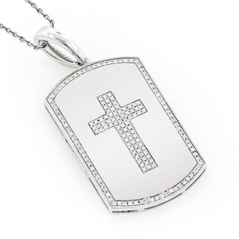 Luxurman 14k Gold 1/4ct TDW Diamond Cross Dog Tag Necklace