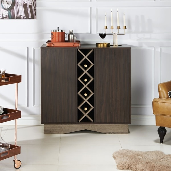 Furniture of America Lymu Contemporary Brown Wood Wine Cabinet