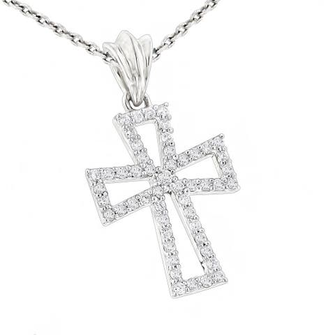 Luxurman Small 10k Gold Designer 1/5ct TDW Diamond Cross Pendant