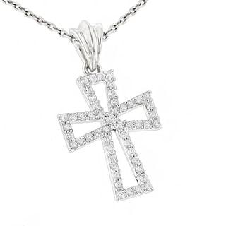 Luxurman Small 10k Gold Designer 1 5ct TDW Diamond Cross Pendant