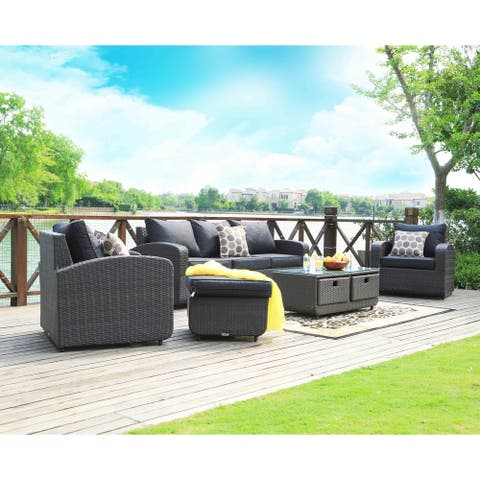 5-Piece Wicker Patio Sofa Set with Drawer Table by Moda Furnishings