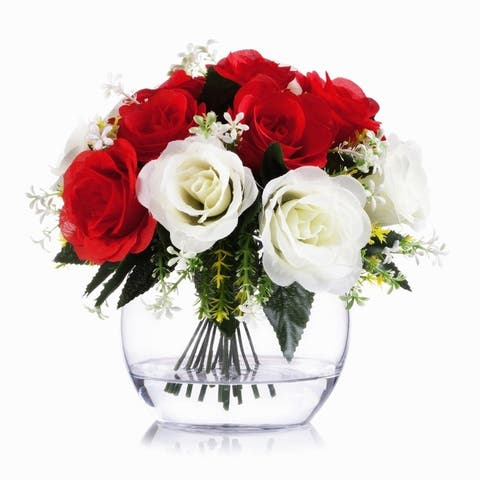 Enova Home Mixed Silk Open Rose Flower Arrangement in Clear Glass Vase with Faux Water For Home Wedding Centerpiece Decoration