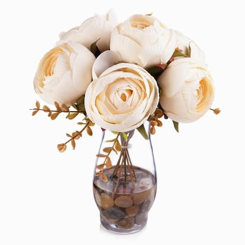 Enova Home 7 Heads Silk Peony Flower Arrangement in Clear Glass Vase with Faux Water For Home Office Centerpiece Decoration