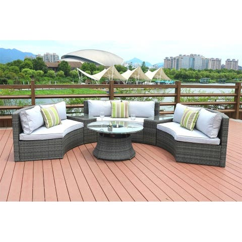 6-Piece Outdoor Wicker Half Round Sofa Set by Moda Furnishings