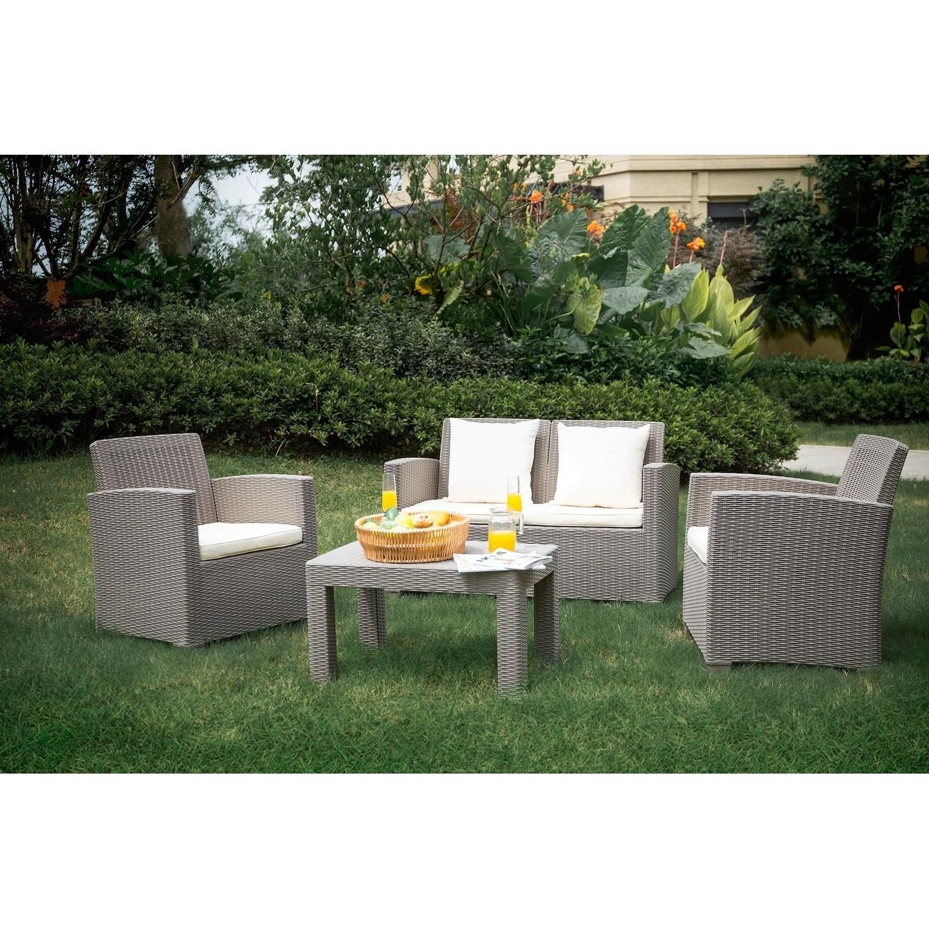 Outdoor 4 Piece Plastic Rattan Wicker Sofa Set By Moda Furnishings