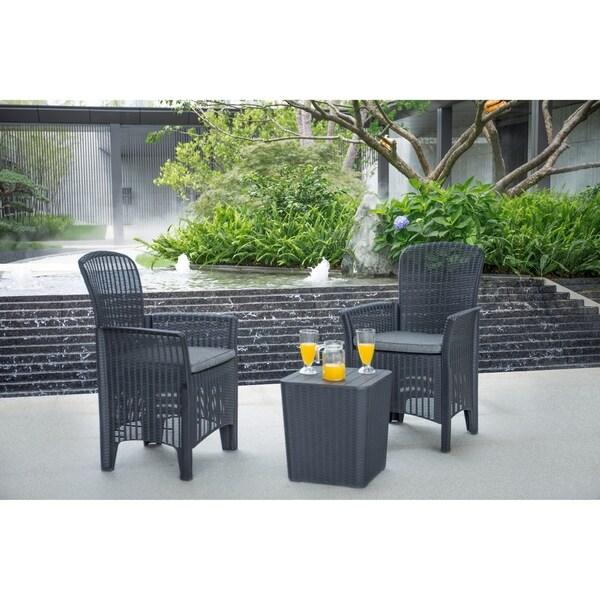 Outdoor 3-Piece Plastic Rattan Dining Set by Moda Furnishings