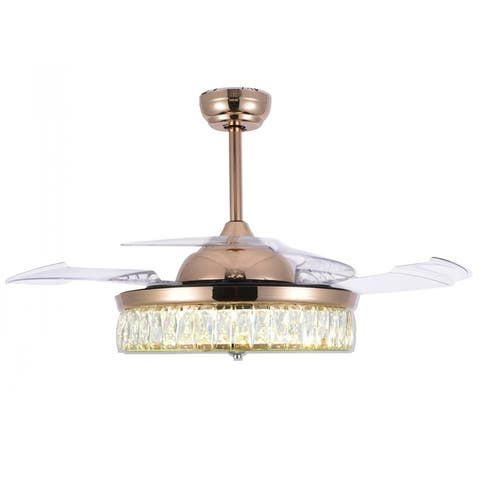Crystal Retractable Ceiling Fan with Glass Shade, LED Light and Remote - 42 Inches