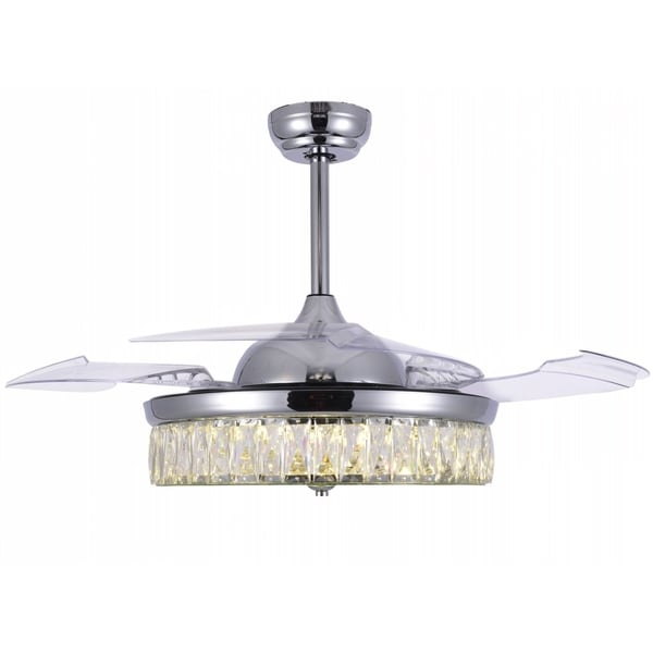 Crystal Retractable Ceiling Fan with Glass Shade, LED Light and Remote - 42 Inches. Opens flyout.