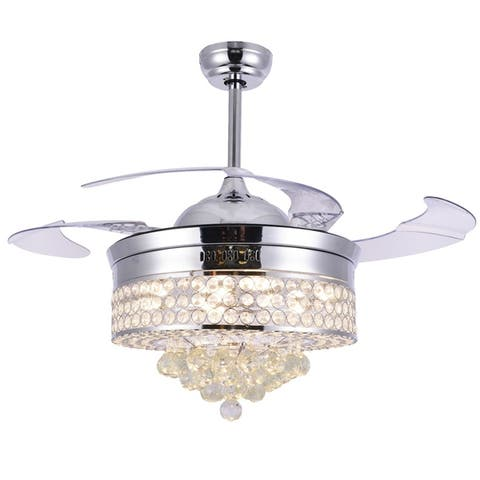 Transitional Retractable Crystal Chandelier Ceiling Fan - 42 Inches