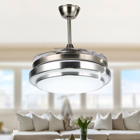 Modern Retractable Metal LED Ceiling Fan with Remote - 42 Inches
