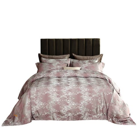 Duvet Cover Set, 6 Pieces Jacquard Modern Fitted Bedding by Dolce Mela