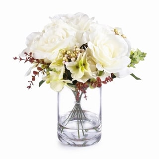 Enova Home Mixed Rose and Hydrangea Silk Flower Arrangement in Clear Glass Vase with Faux Water For Home Wedding Centerpiece