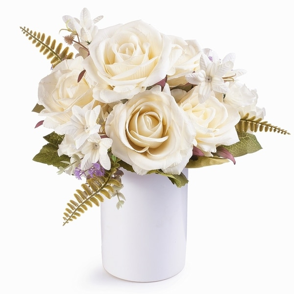 Enova Home Rose and Hydrangea Silk Flower Arrangement in Ceramic Vase with Faux Water For Home Wedding Centerpiece - N/A