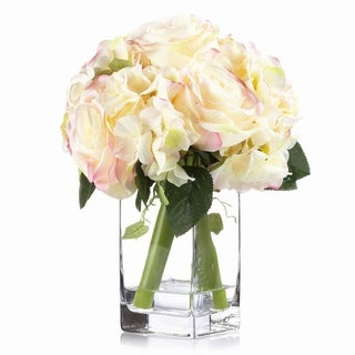 Enova Home Mixed Rose and Hydrangea Silk Flower Arrangement in Glass Vase with Faux Water For Home Office Decoration - N/A