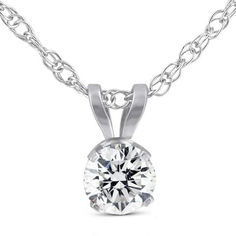 14k White Gold 1/3 Ct TDW Solitaire Round Diamond Pendant
