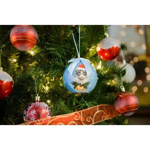 2 x Dog Breeds Twinkling Lights Christmas Ball Ornament, Persian
