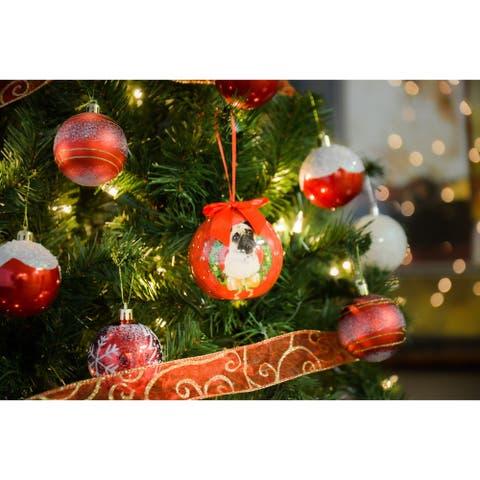 2 x Dog Breeds Twinkling Lights Christmas Ball Ornament, Pug