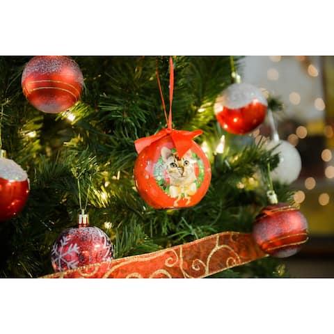 2 x Dog Breeds Twinkling Lights Christmas Ball Ornament, Ginger Tabby - Ginger Tabby