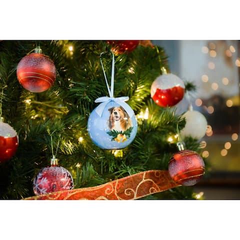 2 x Dog Breeds Twinkling Lights Christmas Ball Ornament, Collie