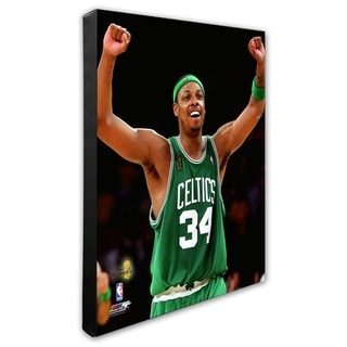 NBA Paul Pierce Game 4 Of The 2008 NBA Finals Celebration 18 Stretched Canvas Officially Licensed