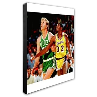 NBA Larry Bird And Magic Johnson Action Stretched Canvas Officially Licensed