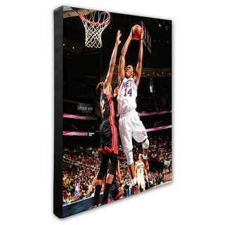 NBA Derrick Favors 2010 11 Action Stretched Canvas Officially Licensed