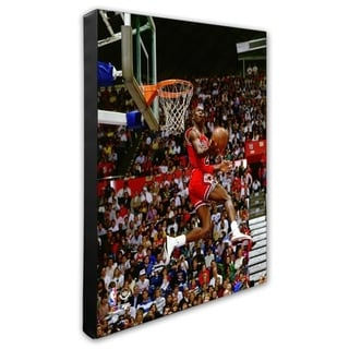 NBA Michael Jordan 1987 Slam Dunk Contest Action Stretched Canvas Officially Licensed