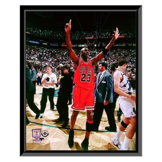 NBA Michael Jordan Celebrates Winning His 6th NBA Championship Game 6 Of The 1998 NBA Finals Framed Photo Officially Licensed