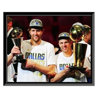 Dirk Nowitzki Jason Kidd With The 2011 NBA Championship MVP Trophies Game 6 Of The 2011 NBA Finals 34 Framed Photo Offic