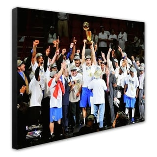 NBA The Dallas Mavericks Celebrate Winning The Game 6 Of The 2011 NBA Finals 31 Stretched Canvas Officially Licensed