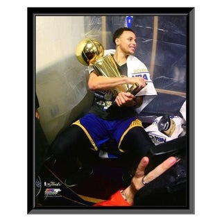 NBA Stephen Curry With The NBA Championship Trophy Game 6 Of The 2015 NBA Finals Framed Photo Officially Licensed