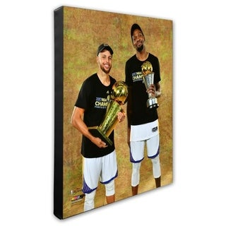 Kevin Durant Stephen Curry With The 2017 MVP NBA Championship Trophies Game 5 Of The 2017 NBA Finals Stretched Canvas Offi