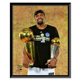 NBA Kevin Durant With The 2017 NBA Championship MVP Trophies Game 5 Of The 2017 NBA Finals Framed Photo Officially Licensed